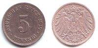 5 Pfennig 1910 J Kaiserreich Kursmünze, großer Adler f.vz  59,90 EUR  zzgl. 6,95 EUR Versand