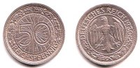 Weimar 50 Pfennig Kursmnze