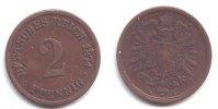 2 Pfennig 1874 A Kaiserreich 2 Pfennig - kleiner Adler f.vz  79,90 EUR