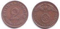 Drittes Reich 2 Reichspfennig 2 Reichspfennig - mit Hakenkreuz