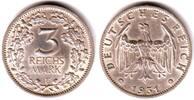 3 Mark 1931 F Weimar Kursmünze mit Eichenlaub vz  398,90 EUR