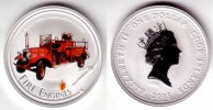 1 Dollar 2005 Cook Inseln 1 Dollar Silbermünze - Feuerwehrauto st-farbig  69,95 EUR
