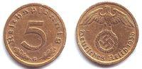 5 Pfennig 1936 G Drittes Reich 5 Reichspfennig ss   74,90 EUR