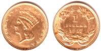 1 Dollar 1857 USA Liberty-Kopf mit Federkrone vz/st/min.ber.  398,00 EUR  zzgl. 6,95 EUR Versand