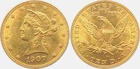 10  Dollar 1907 USA Liberty - Eagle - Coronet Head vz  649,00 EUR  zzgl. 6,95 EUR Versand