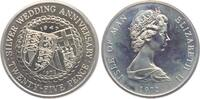 25 Pence 1972 Isle of Man Silberhochzeit - Alianzwappen PP  9,00 EUR
