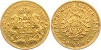20 Mark 1889 J Hamburg Stadtwappen  - mit kleinem Adler ss/f.vz  1298,00 EUR kostenloser Versand