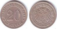 20 Pfennig 1892 E Kaiserreich 20 Pfennig - großer Adler vz  98,00 EUR  zzgl. 6,95 EUR Versand