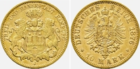 10 Mark 1876 J Hamburg Behelmtes Wappenschild von Hamburg f.vz  1598,00 EUR kostenloser Versand
