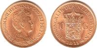 10 Gulden 1911 Niederlande Königin Wilhelmina (1890-1948) vz/st/Rf.  238,00 EUR  zzgl. 6,95 EUR Versand