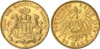 20 Mark 1913 J Hamburg Behelmtes Wappenschild von Hamburg gutes vz  368,00 EUR  zzgl. 6,95 EUR Versand