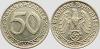 50 Pfennig 1938 G Drittes Reich 50 Reichspfennig f.vz  89,00 EUR  zzgl. 6,95 EUR Versand