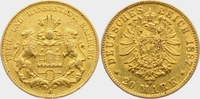 20 Mark 1887 J Hamburg Stadtwappen vz/Kr.  398,00 EUR  zzgl. 6,95 EUR Versand