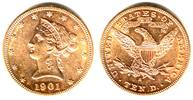 USA 10 Dollar 1901 S ss Goldmünze - Liberty/ Cornet Head / Eagle  679,90 EUR