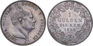 Gulden 1852  A Hohenzollern-Sigmaringen Friedrich Wilhelm IV. König von Preussen 1849-1861. Prachtexemplar. Herrliche Patina. Fast Stempelglanz
