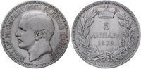 5 Dinara 1879 Jugoslawien-Serbien Milan Obrenovich IV. (Milan I.) 1868-... 85,00 EUR  plus 5,00 EUR verzending