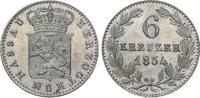 6 Kreuzer 1834 Nassau Wilhelm 1816-1839. Vorzüglich  35,00 EUR  zzgl. 5,00 EUR Versand