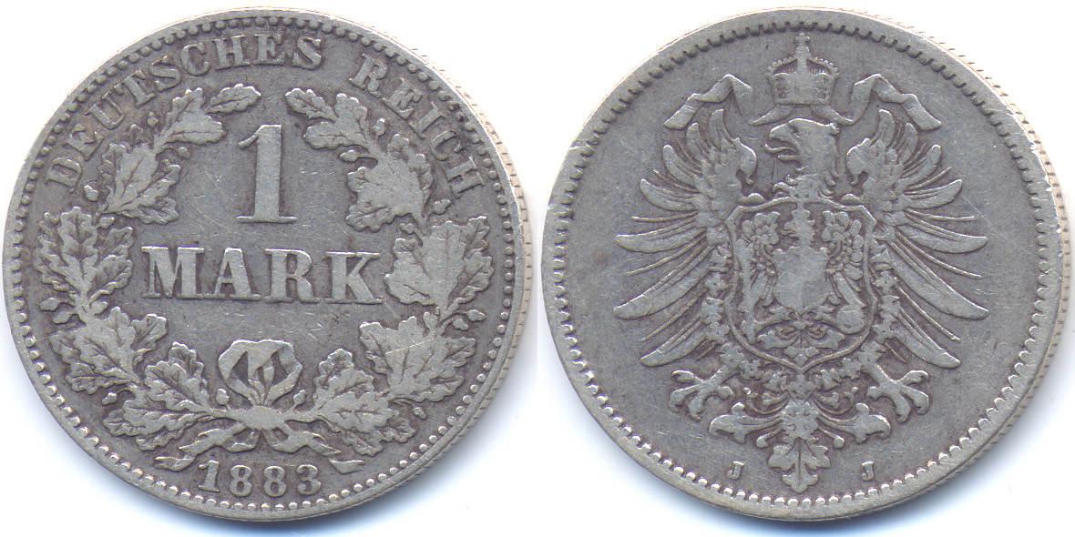 1 Mark 1883 J Kaiserreich kleiner Adler - Silber gutes schön/sehr schön
