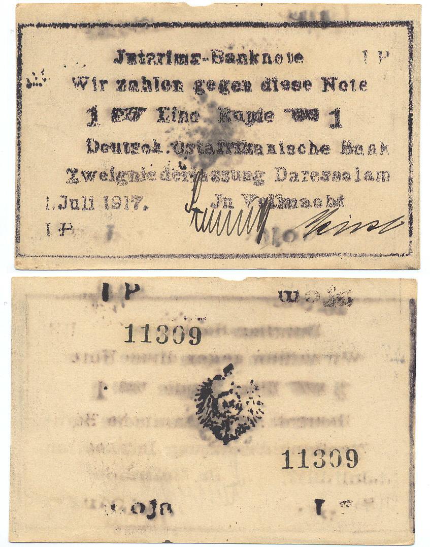 1 Rupie 1917 IP Deutsch Ostafrika Rosenberg Nr. 936f - Buschnote 1