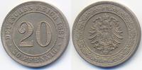 20 Pfennig 1887 A Kaiserreich kleiner Adler - Kupfer/Nickel prägefrisch+  54,00 EUR