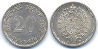 20 Pfennig 1876 D Kaiserreich kleiner Adler - Silber - Stempelriss präg... 22,00 EUR