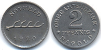2 Pfennig 1920 Württemberg Nagold - Eisen 1920 (Funck 354.6) vorzüglich  59,00 EUR  zzgl. 3,80 EUR Versand