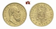 REICHSGOLDMNZEN 5 Mark WRTTEMBERG Karl, 1864-1891.