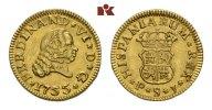1/2 Escudo 1755 S-PJ, Sevilla. SPANIEN Fernando VI., 1746-1759. Winz. K... 215,00 EUR