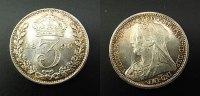 3 Pence  1899 Großbritannien  stgl  55,00 EUR  zzgl. 4,00 EUR Versand