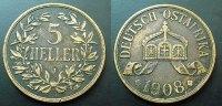 5 Heller 1908 Deutsch Ostafrika  ss  65,00 EUR  zzgl. 4,00 EUR Versand