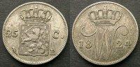 25 Cent 1824 Niederlande  ss, very fine, kleine Kratzer  60,00 EUR  zzgl. 4,00 EUR Versand