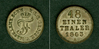 1863 Mecklenburg Mecklenburg Schwerin 1/48 Taler 1863 A  vz vz  14,80 EUR  zzgl. 3,90 EUR Versand