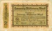 Notgeldscheine Notgeld Inflation BERGHEIM  20 Mio. Mark 27.08.1923 IV  8,80 EUR  zzgl. 3,90 EUR Versand