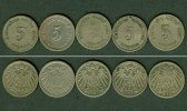 1890-1899 Kleinmünzen 5 Pfennig Lot: DEUTSCHES REICH  5x 5 Pfennig  [1... 10,80 EUR  zzgl. 3,90 EUR Versand