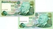 1978 Portugal Lot: PORTUGAL 2x Banknote  20 Escudos 1978  I Alle um BA... 10,80 EUR  zzgl. 3,90 EUR Versand