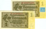 Deutsche Notenbank 1948-1964  Lot:  DDR 2x Banknote  1 MARK 1948 ohne/mit Kupon  I-II