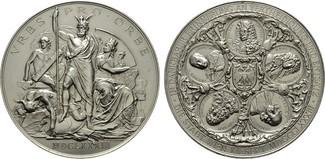 Versilberte Bronzemedaille (von A.Scharf 1883. STÄDTE IN DEN HABSBURGISCHEN ERBLANDEN  Am Rand kleine unbedeutende Metallprobe. Versilbert -  Fast Stempelgla