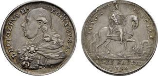 Silbermedaille (von Reich) 1790 RÖMISCH-DEUTSCHES REICH Leopold II., 1790-1792. Fast Vorzüglich