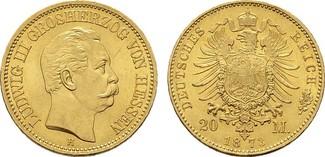 20 Mark 1873, H. Hessen Ludwig III., 1848-1877. Fast Stempelglanz/Stempelglanz.