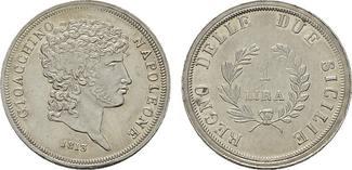 Lira 1813, Neapel. ITALIEN Joachim Murat, König von Neapel, 1808-1815. Vorzüglich +.
