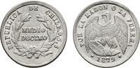 1/2 Decimo 1879. CHILE  Stempelglanz  25,00 EUR  zzgl. 4,50 EUR Versand