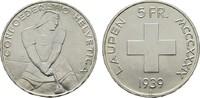 5 Franken 1939, Laupen. SCHWEIZ  Fast Stempelglanz/Stempelglanz.  170,00 EUR  zzgl. 4,50 EUR Versand