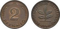 2 Pfennig 1960, J. BUNDESREPUBLIK DEUTSCHLAND  Bankfrisch  8,00 EUR  zzgl. 4,50 EUR Versand