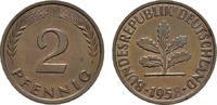2 Pfennig 1958, J. BUNDESREPUBLIK DEUTSCHLAND  Bankfrisch  8,00 EUR  zzgl. 4,50 EUR Versand