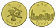 Hong Kong. 1000 Dollars, Rückgabe Hong Kong an China, 1997. Polierte Pla... 795,00 EUR
