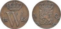 Ku.-1/2 Cent 1864. NIEDERLANDE Wilhelm III., 1849-1890. Sehr schön +.  30,00 EUR  zzgl. 4,50 EUR Versand