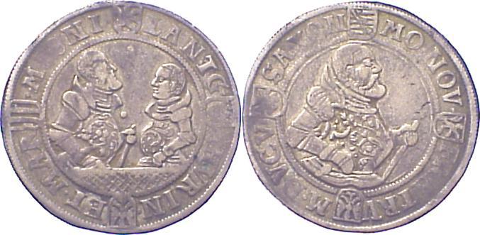Halbtaler 1554-1565 Sachsen-Ernestinische Linie Die Söhne Johann Friedrichs 1554-1565, nach seinem Tode. Schöne Patina. Selten. Sehr schön