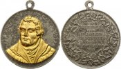 Reformation Tragbare Zinnmedaille . Geburtstag von Martin Luther 1883.