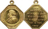 Reformation Tragbare vergoldete Bronzemedaille . Geburtstag von Martin Luther 1883.