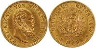 5 Mark Gold 1877  F Württemberg Karl 1864-1891. Vorzüglich  745,00 EUR kostenloser Versand